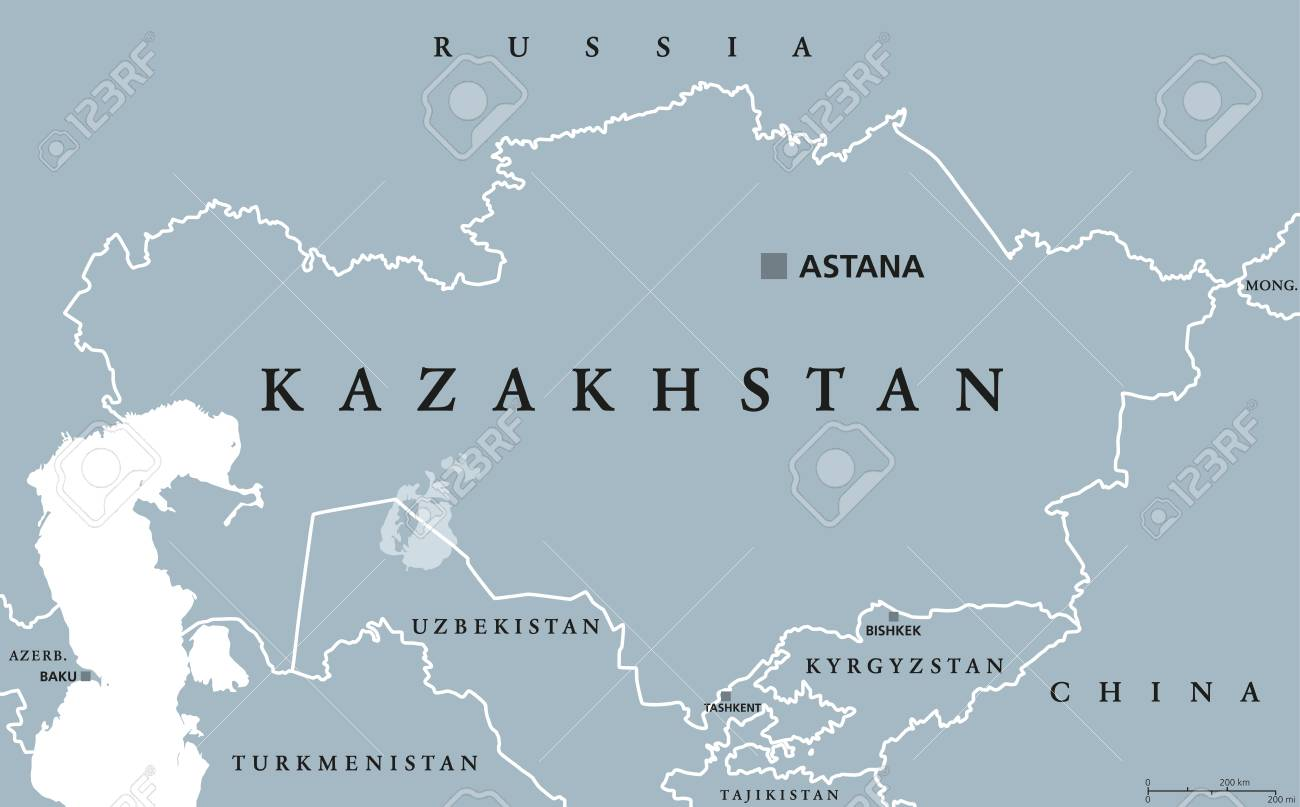 Kazakhstan Political Map.Kazakhstan Political Map With Capital Astana Republic
