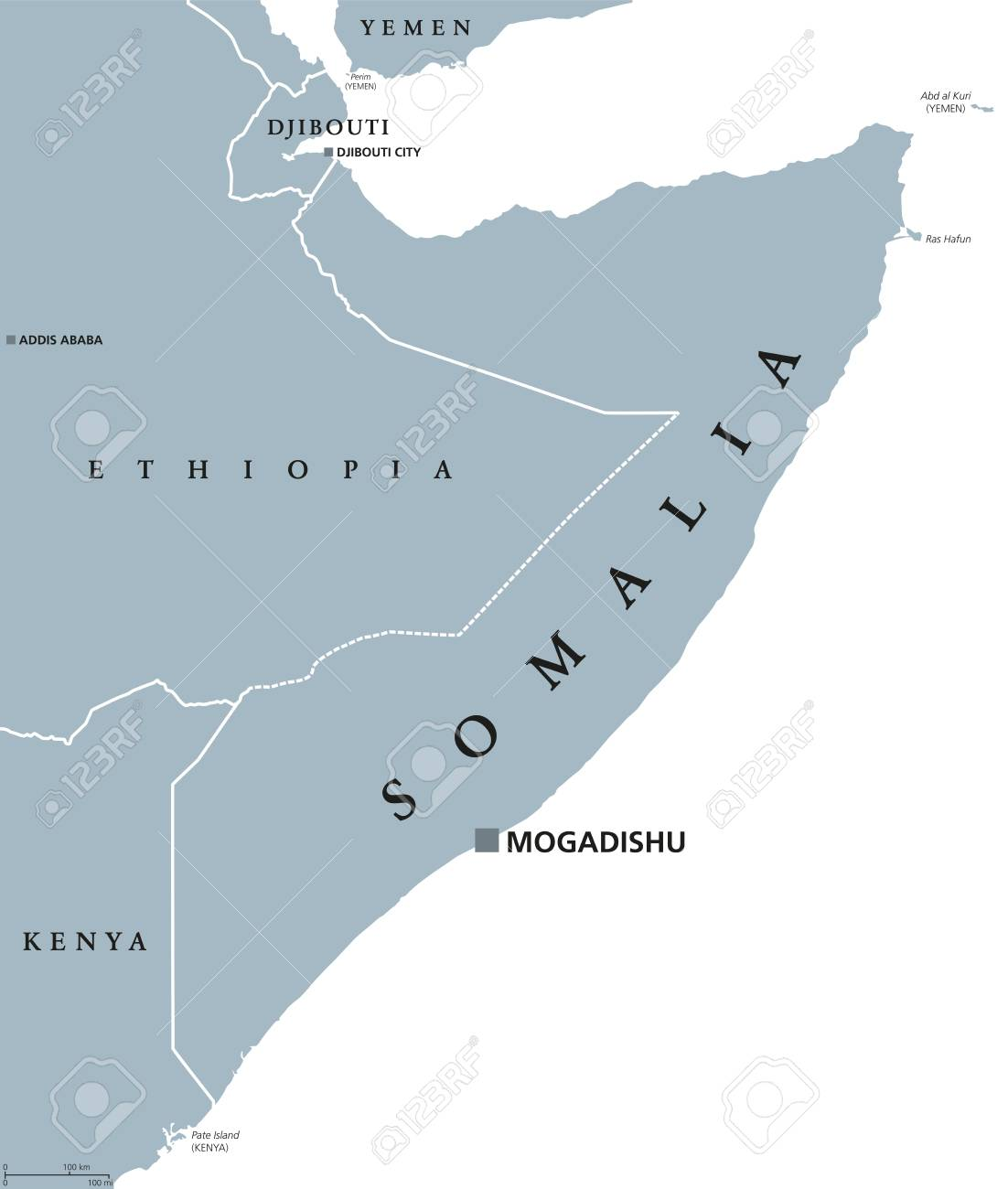 Somalia Political Map With Capital Mogadishu Federal Republic
