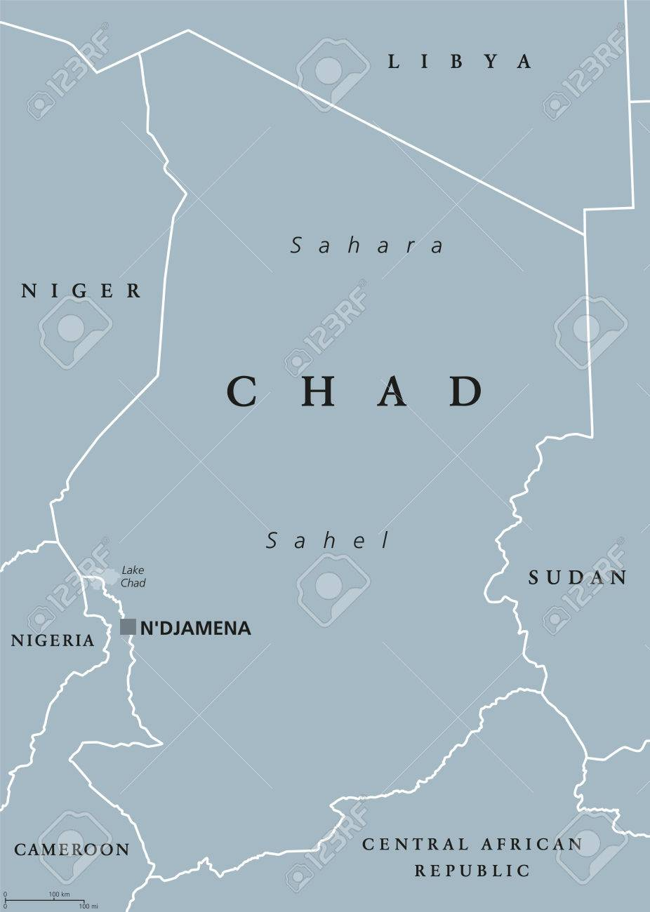 Chad Political Map With Capital Ndjamena International Borders