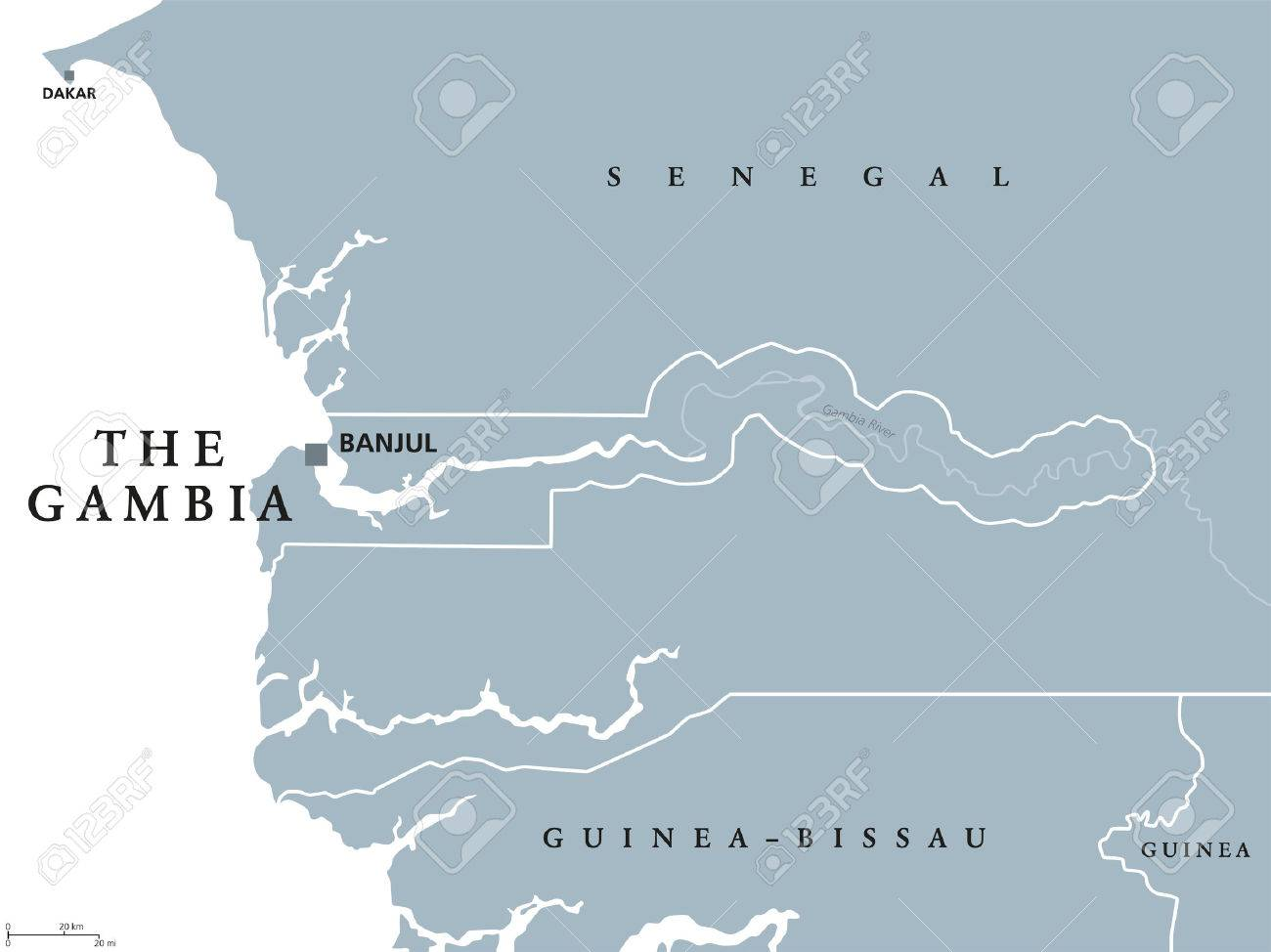 Gambia On Africa Map.The Gambia Political Map With Capital Banjul Republic And Country