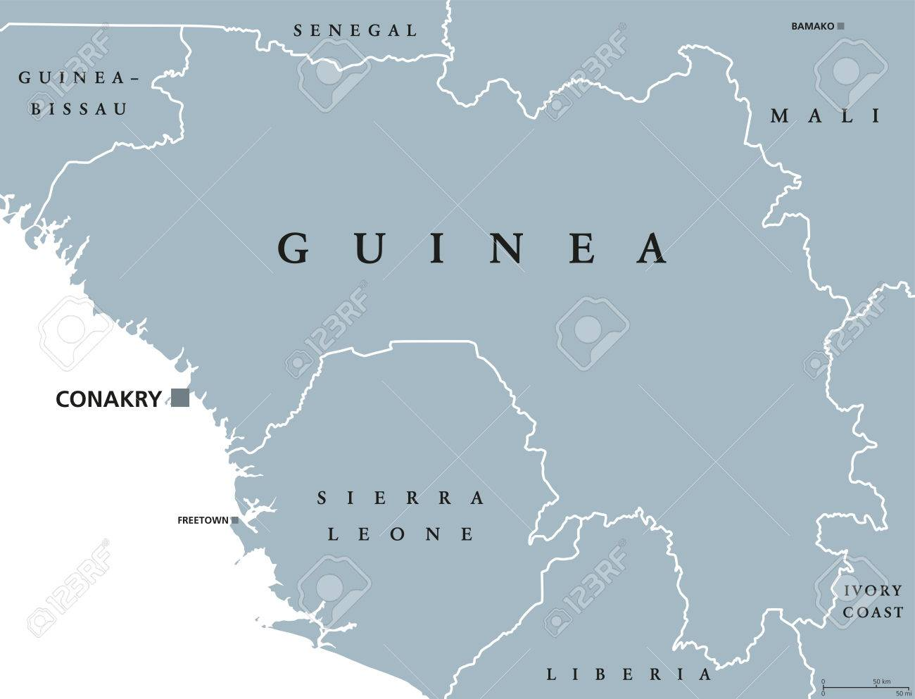 Guinea Political Map With Capital Conakry Republic And Country