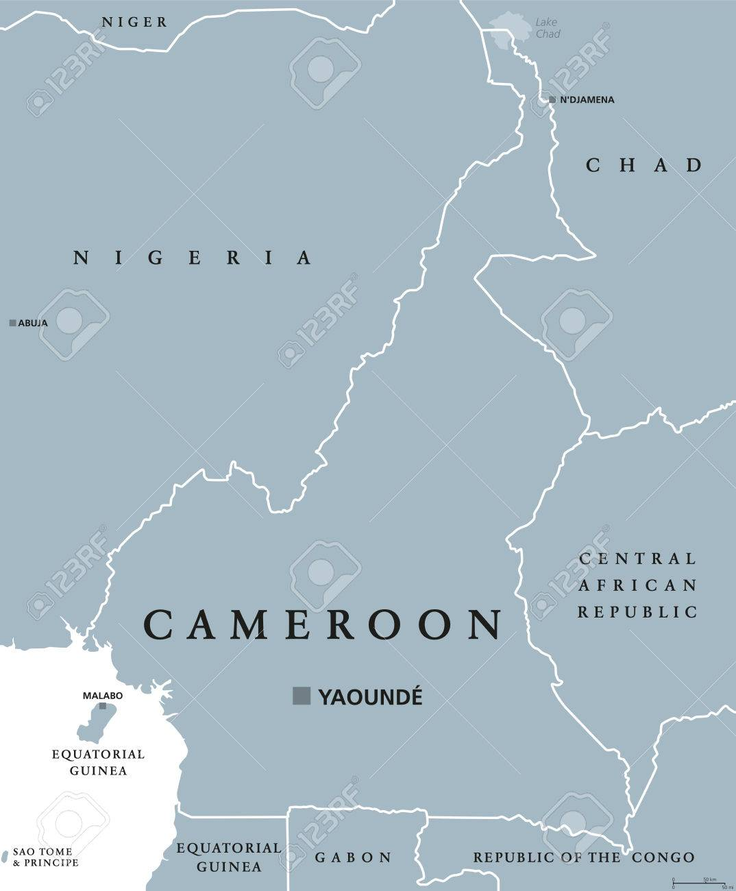 Cameroon Political Map With Capital Yaound International Borders