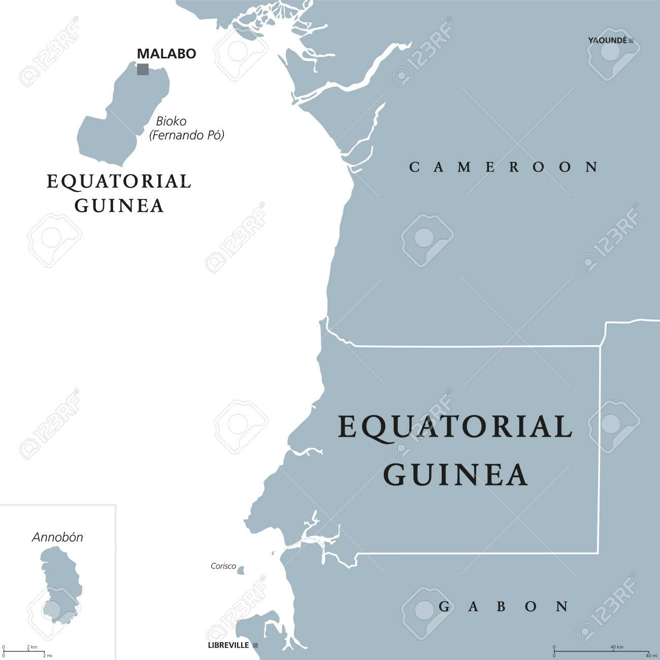 Equatorial Guinea Political Map With Capital Malabo On Bioko