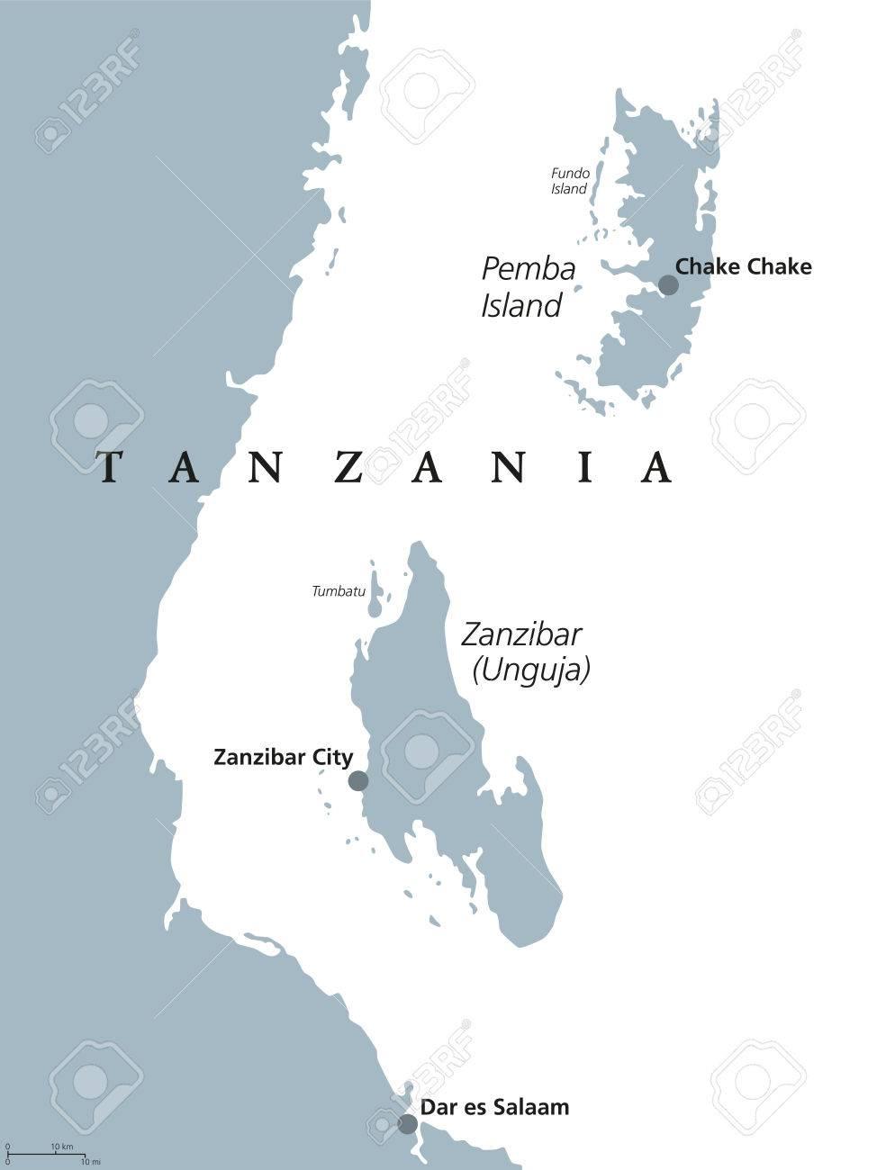 Map Of Africa Zanzibar.Zanzibar And Pemba Island Political Map Semi Autonomous Region
