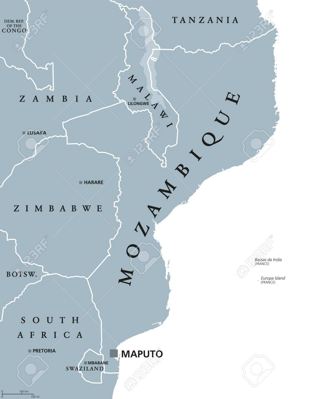 Mozambique Political Map With Capital Maputo. Republic And Country