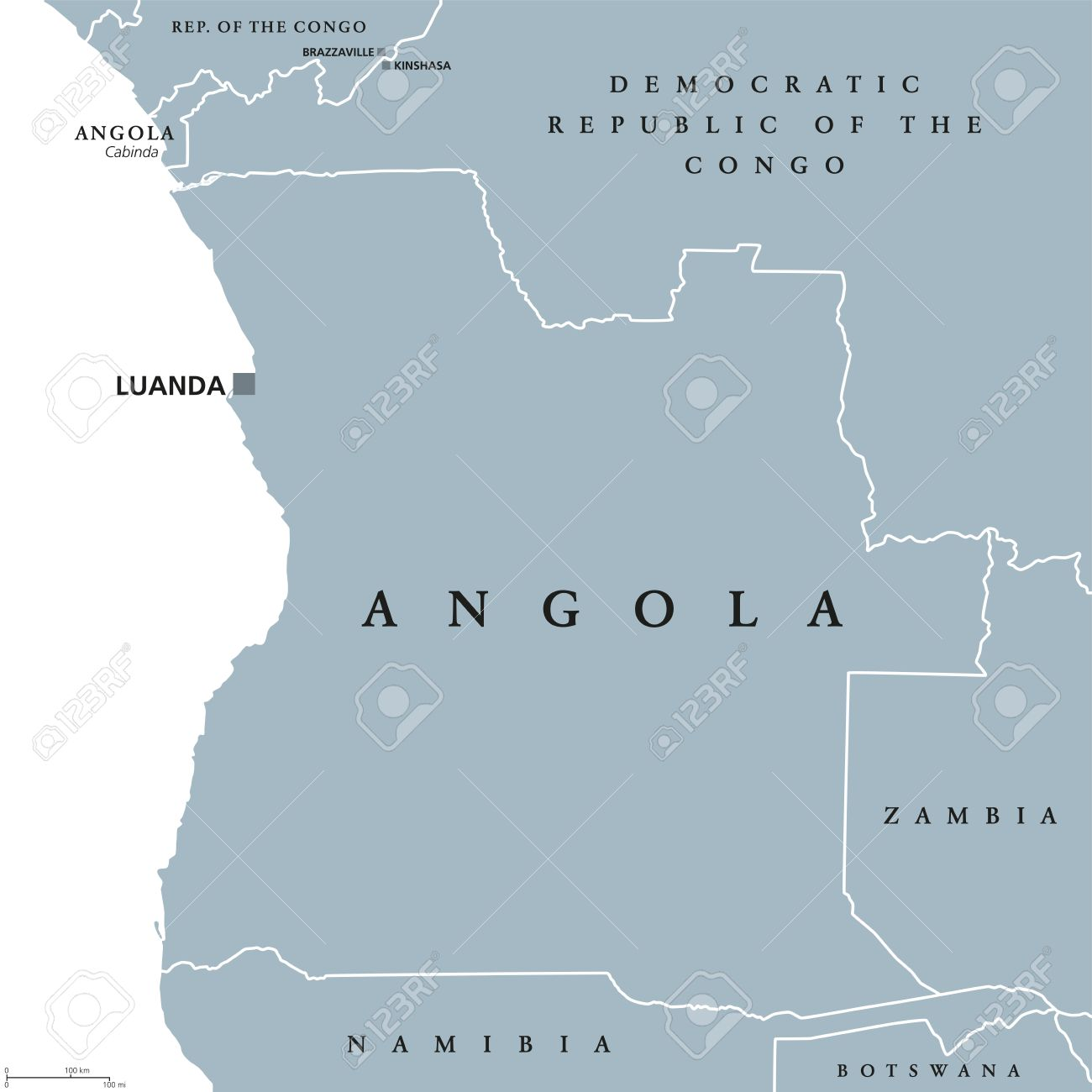 Angola Political Map With Capital Luanda And Exclave Cabinda