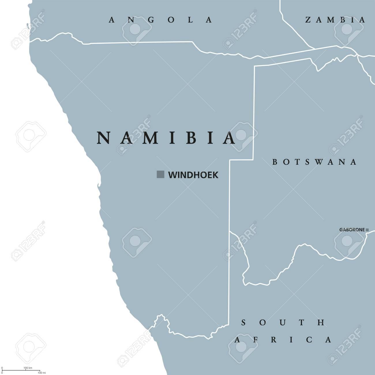 Carte Afrique Du Sud Ouest.Carte Politique De La Namibie Avec La Capitale Windhoek Republique