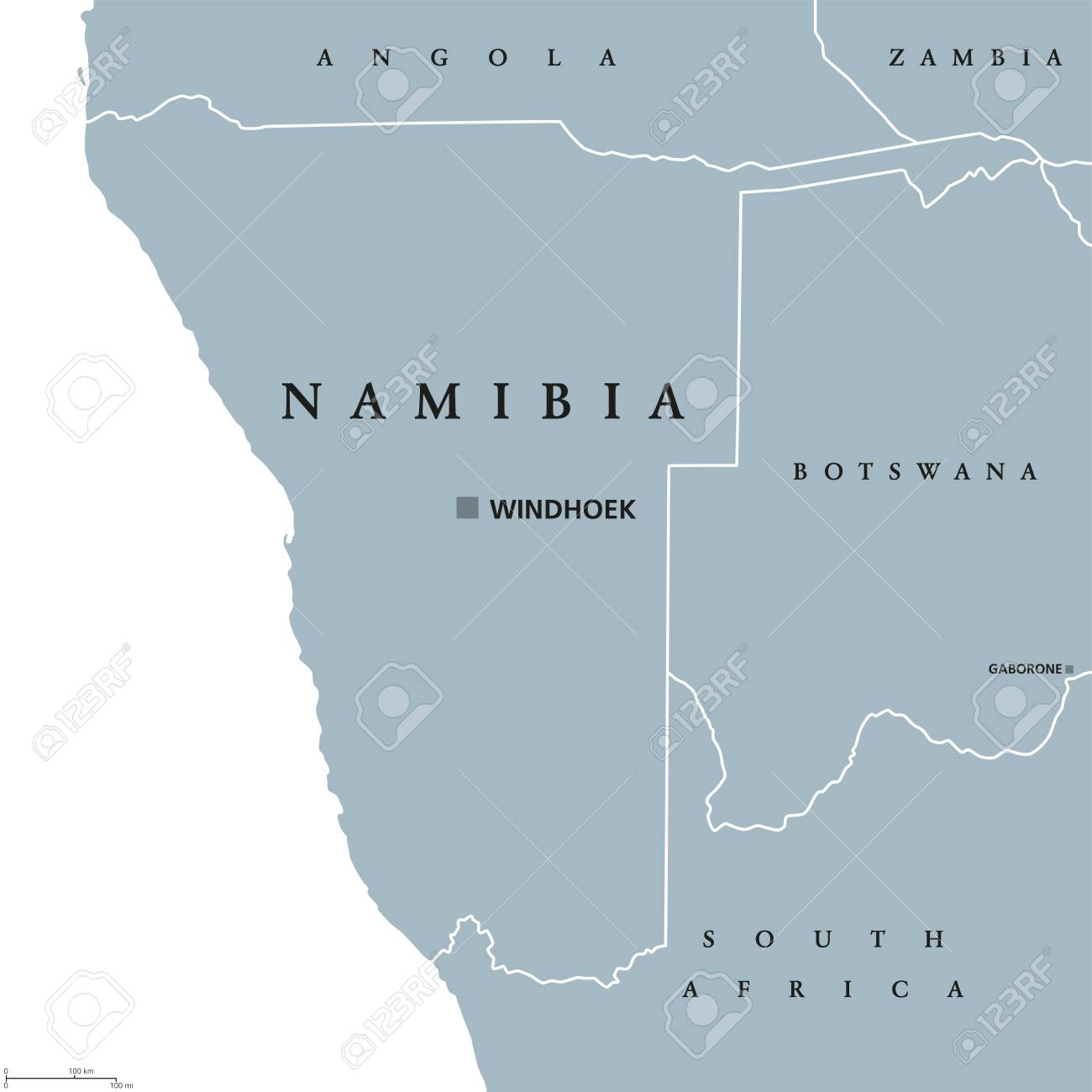 Namibia Political Map With Capital Windhoek Republic And Country