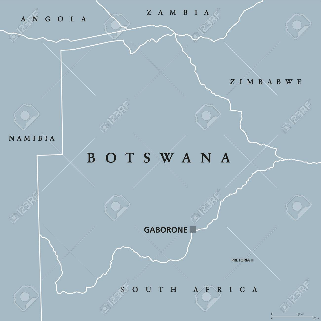Botswana Political Map.Botswana Political Map With Capital Gaborone And International