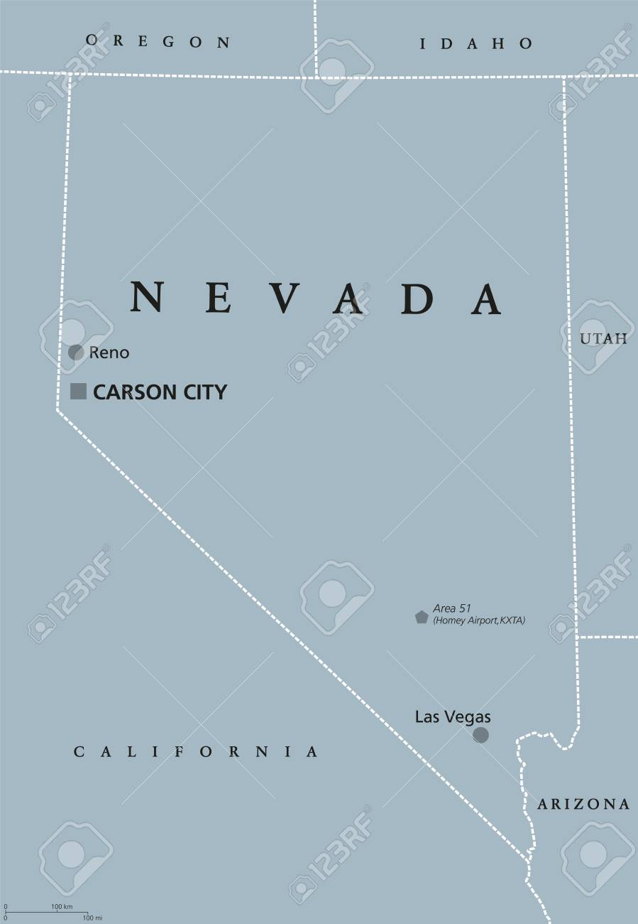 Nevada political map with Las Vegas, Reno and capital Carson..