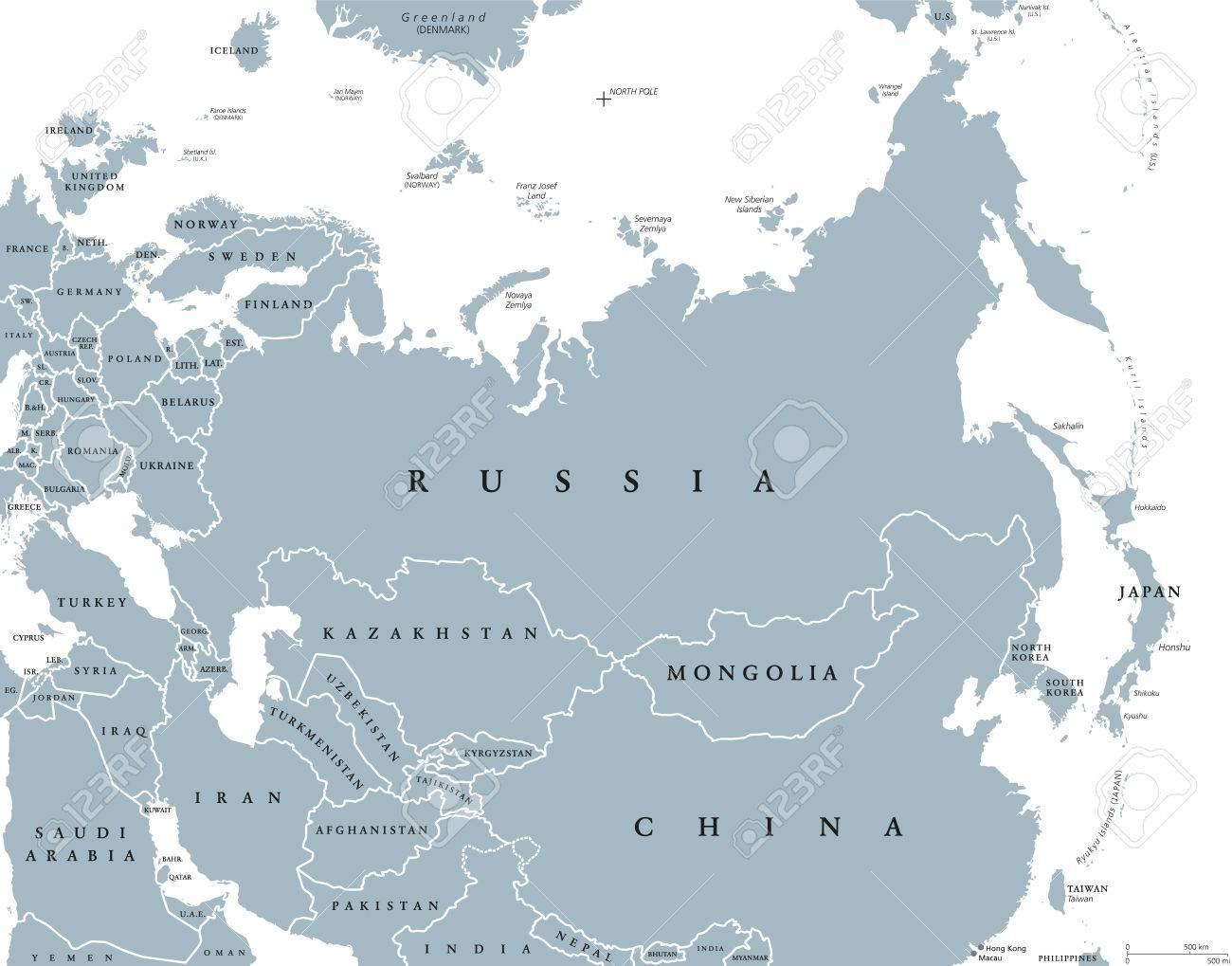 Carte Europe Grise.Carte Politique D Eurasie Avec Les Pays Et Les Frontieres Forteresse Continentale Combinee D Europe Et D Asie Situee Dans Les Hemispheres Nord Et