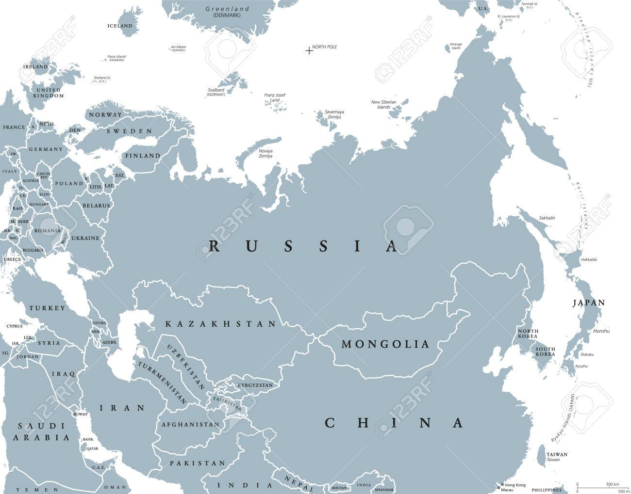 Eurasia political map with countries and borders. Combined continental..