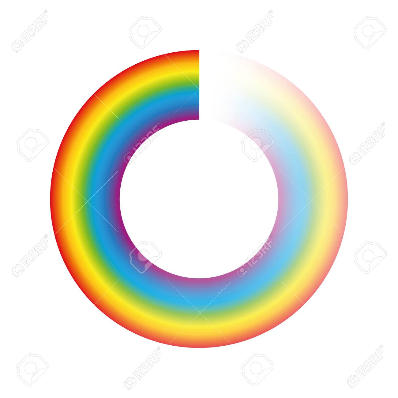 Buffering circle or preloader - rainbow colored ring with transparency