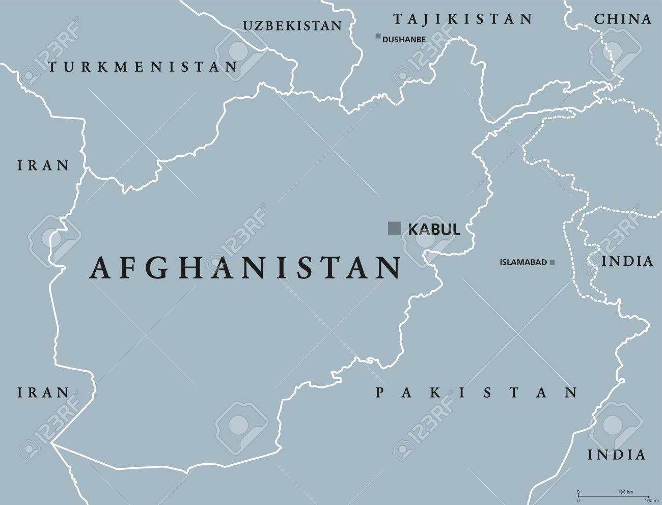 Afghanistan Political Map With Capital Kabul And Borders Islamic