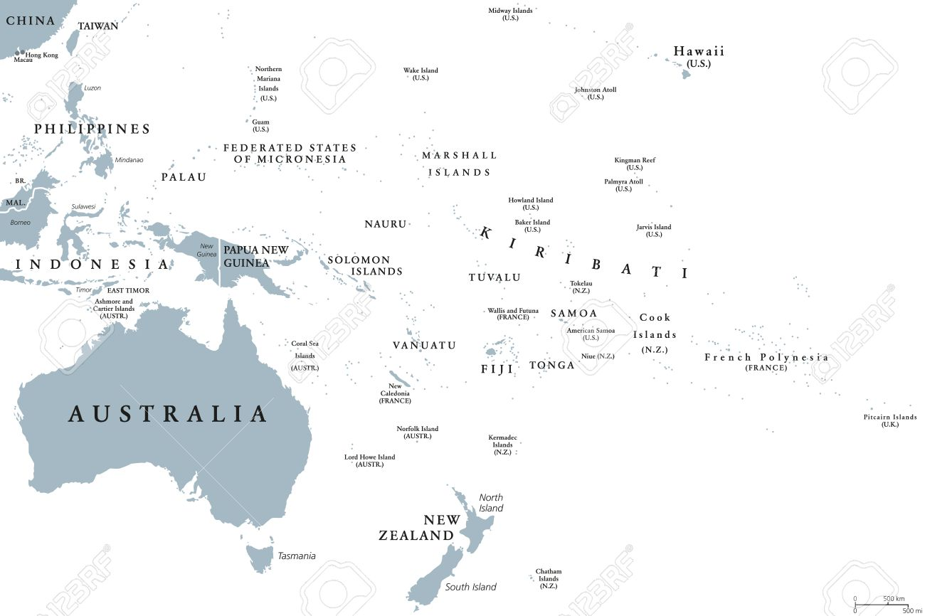 Carte Australie Anglais.Carte Politique De L Oceanie Avec Les Pays Etiquetage En Anglais Region Comprenant L Australie Et Les Iles Du Pacifique Avec Les Regions De La