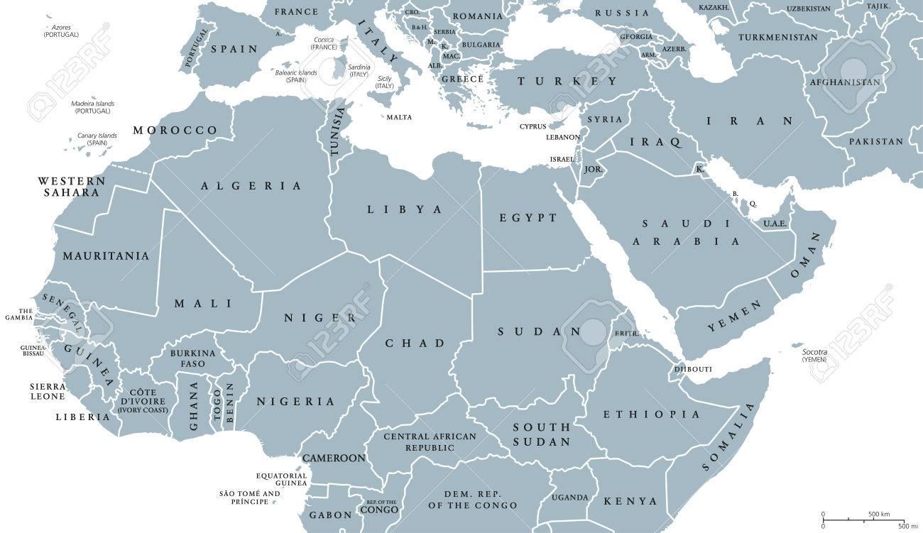 Carte De Lafrique Maghreb.Carte Politique De L Afrique Du Nord Et Du Moyen Orient Avec Les Pays Et Les Frontieres Etiquetage En Anglais Pays Du Maghreb De La Mediterranee