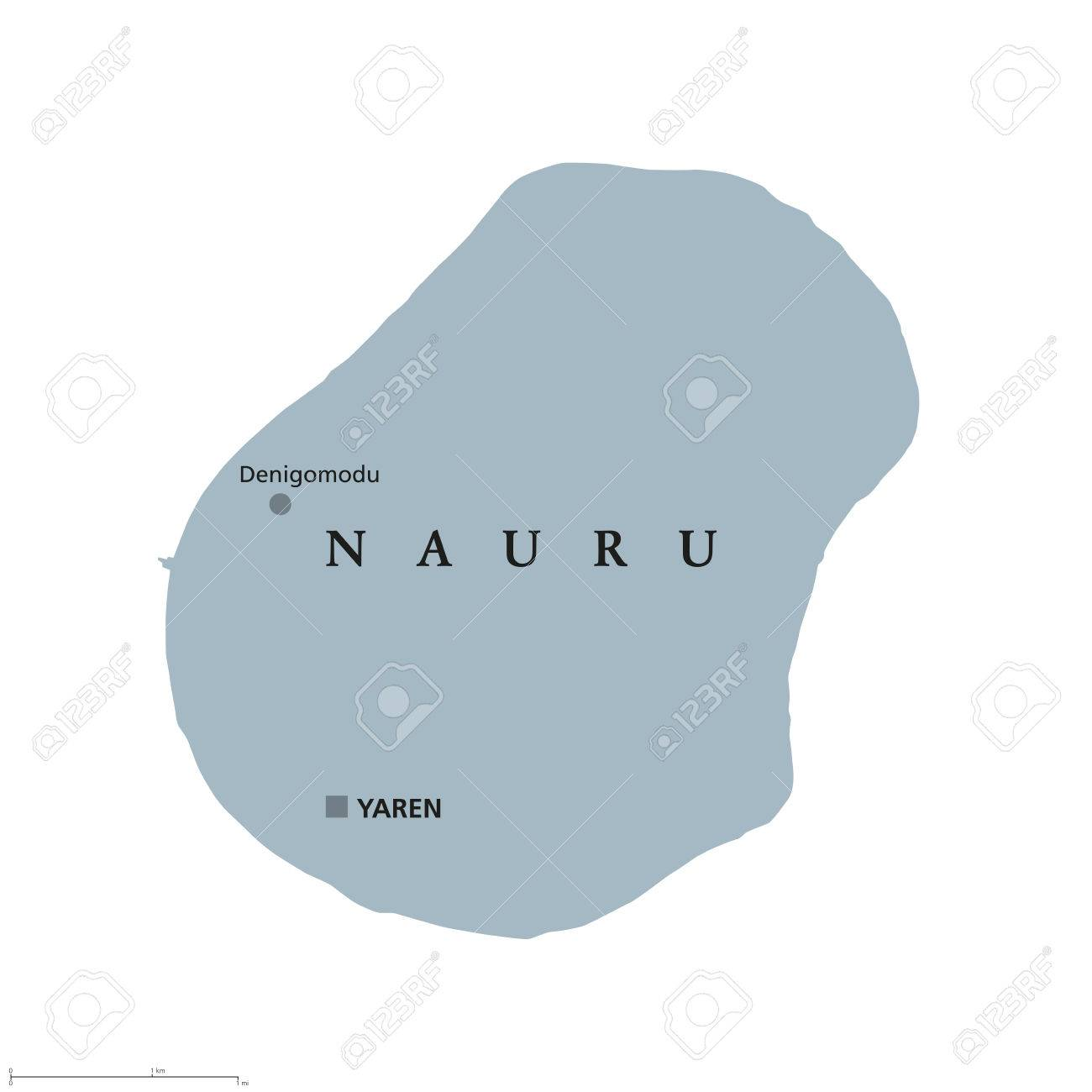 Nauru Political Map With Capital Yaren Formerly Pleasant Island