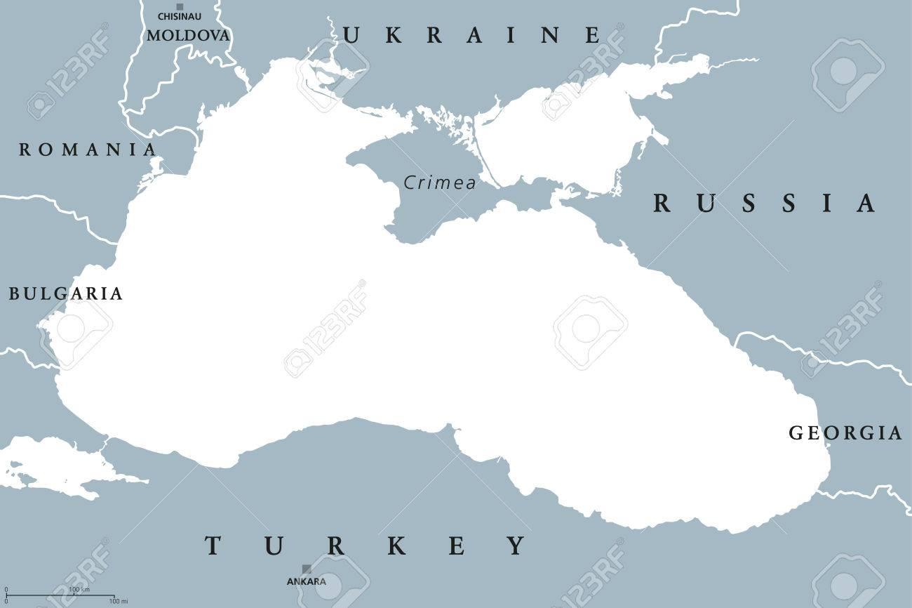 Black Sea and Sea of Azov region political map with capitals