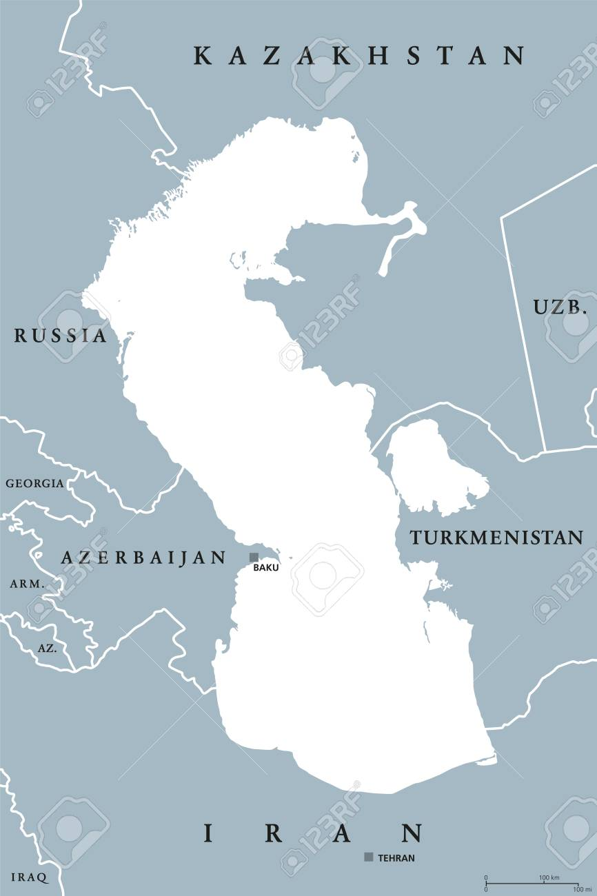 Caspian Sea region political map with borders and countries...