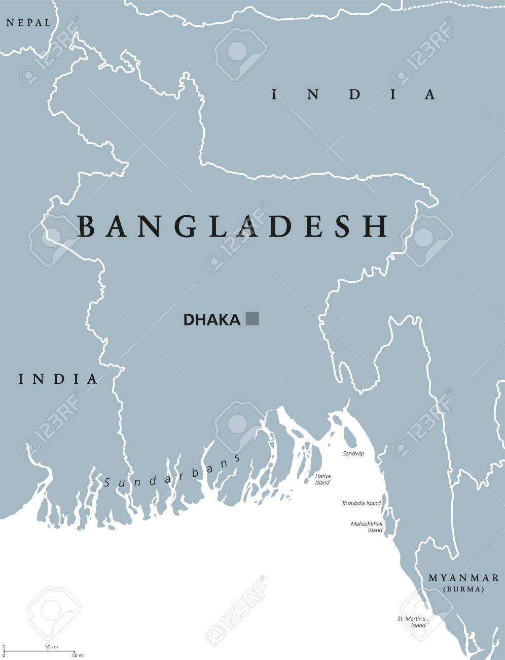 Bangladesh Political Map With Capital Dhaka And Borders English