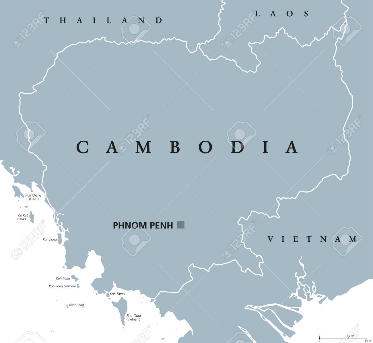 Kambodscha Karte.Stock Photo
