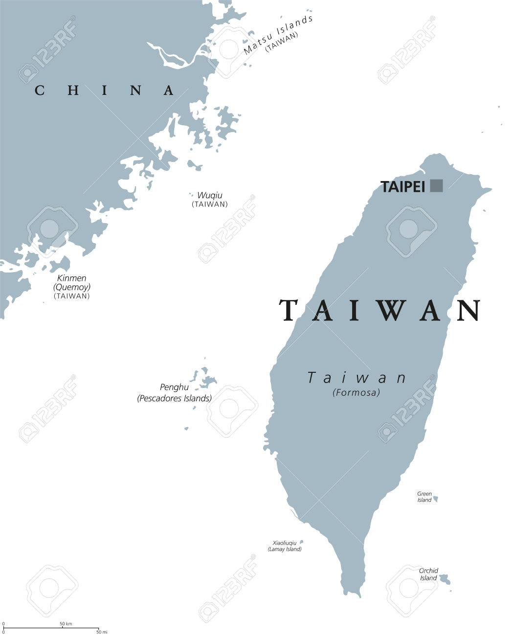 China Map In English.Taiwan Political Map With Capital Taipei English Labeling
