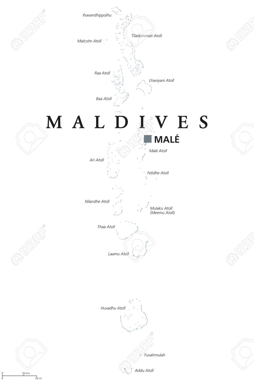 Maldives Political Map With Capital Male. English Labeling. Republic ...