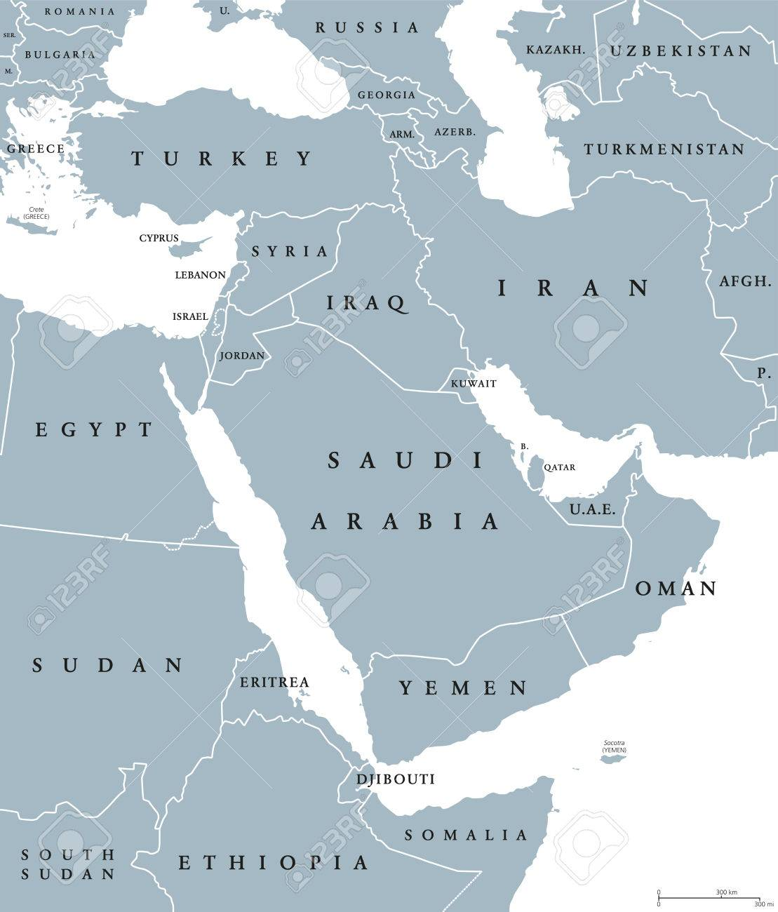 Middle East political map with borders and English labeling...