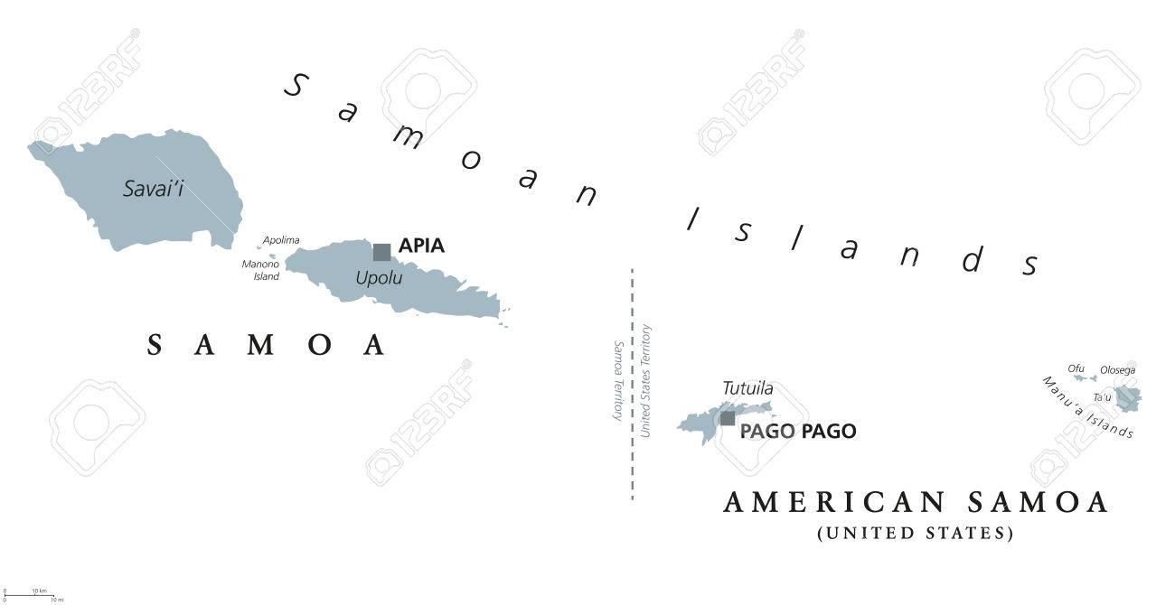 samoan islands political map with english labeling samoa and american samoa archipelago in the
