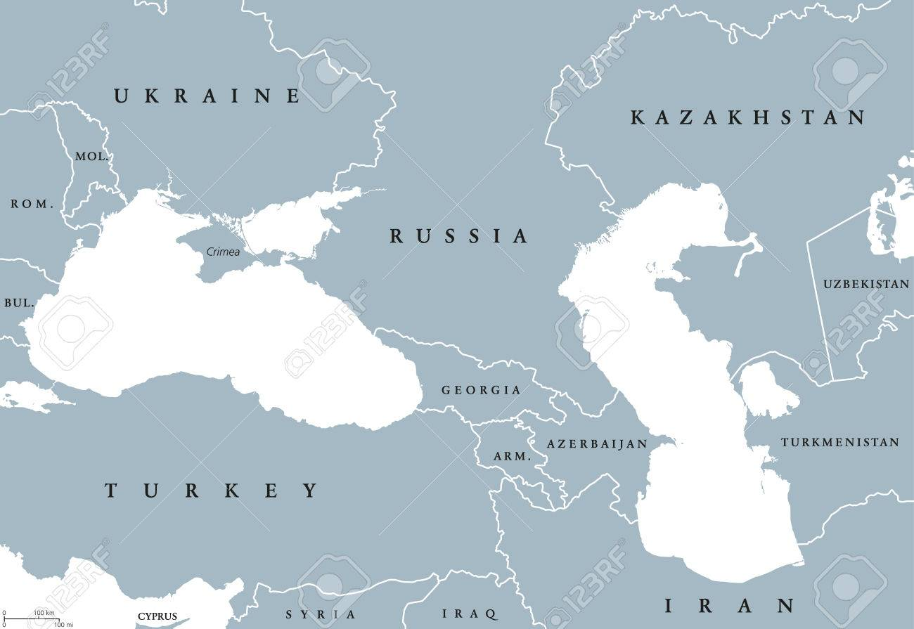 Political Map Eastern Europe.Black Sea And Caspian Sea Region Political Map With Countries