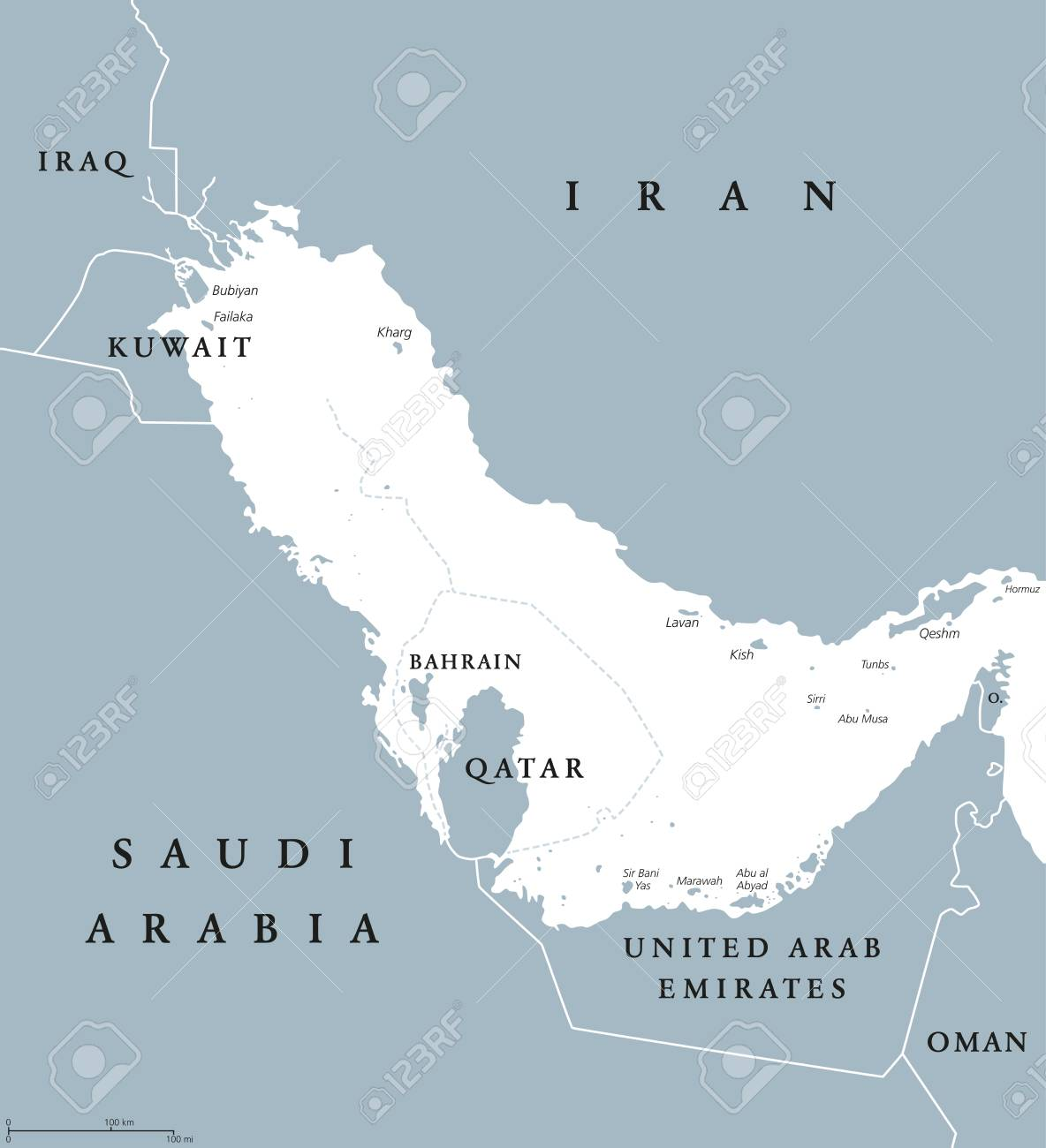 persian gulf region countries political map with english labeling body of water and extension of