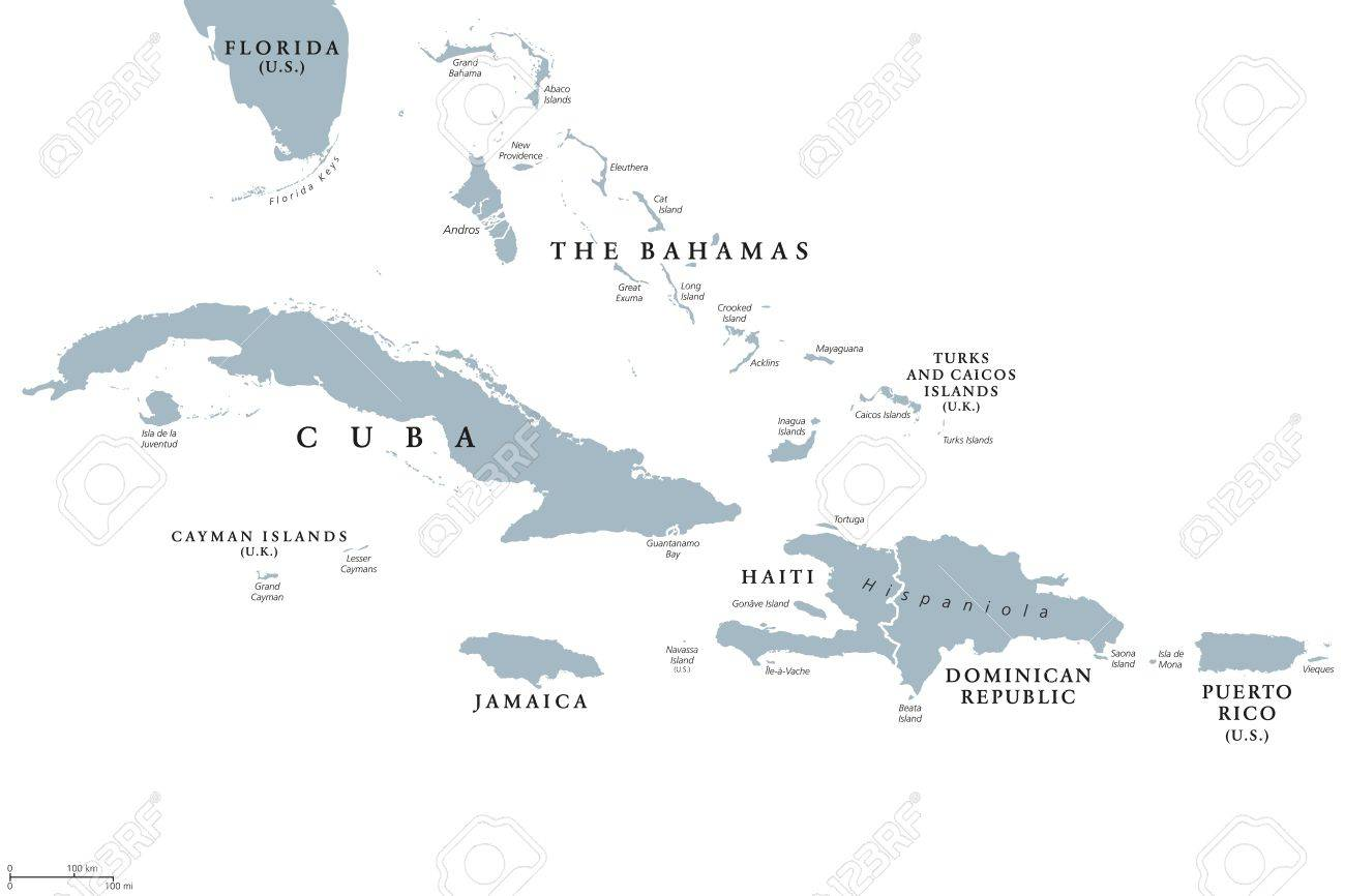 Greater Antilles Political Map With English Labeling Grouping