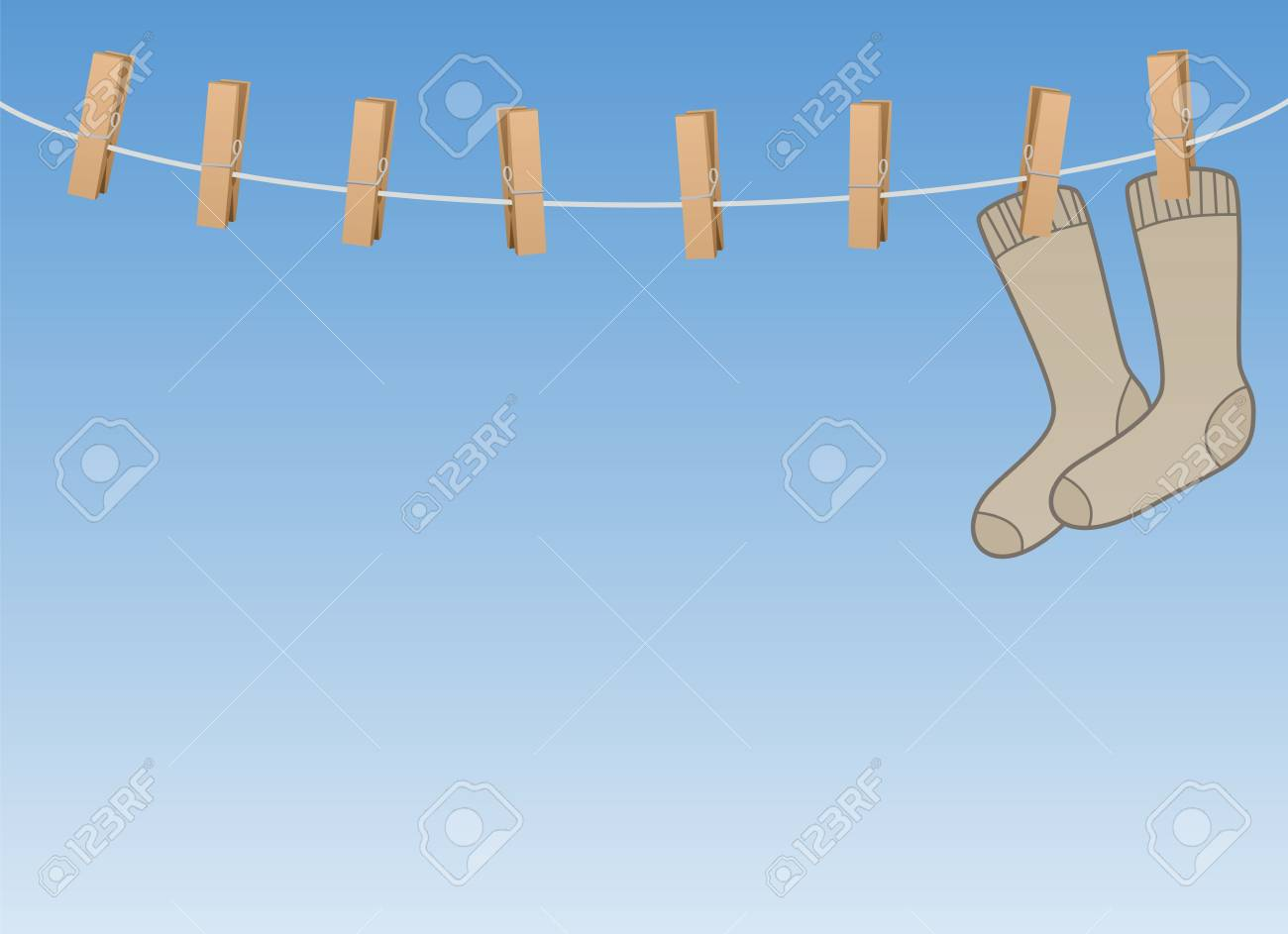Lonesome Socks Hanging All Alone On A Clothes Line - Symbol For ...
