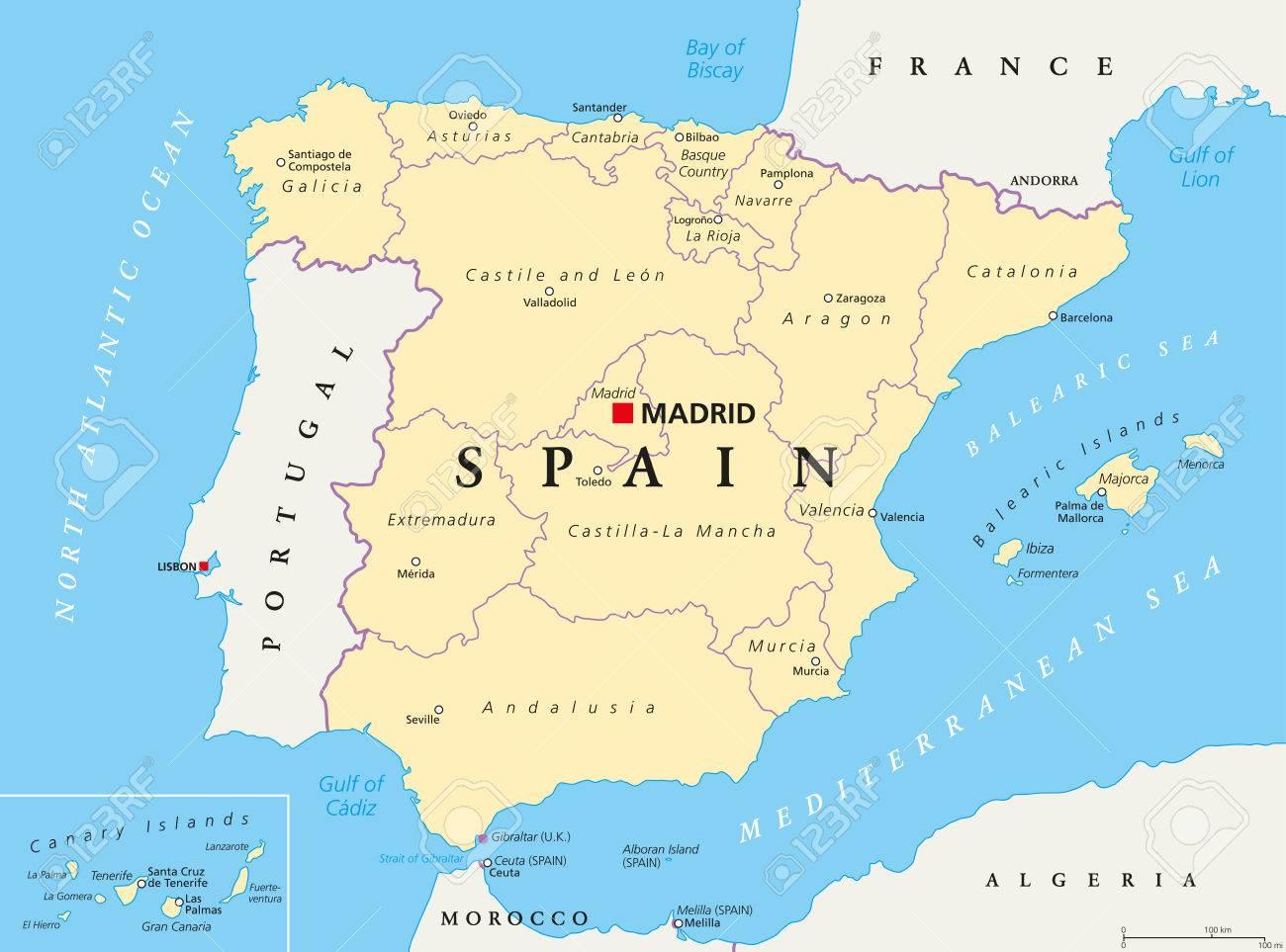 Mapa De España Provincias Y Comunidades.Mapa Politico De Las Divisiones Administrativas De Espana Comunidades Autonomas Y Sus Capitales Organizacion Territorial Municipalidades