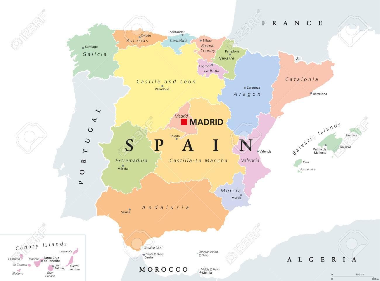 Mapa España Comunidades Autonomas Y Provincias.Mapa Politico De Las Comunidades Autonomas De Espana Divisiones Administrativas Del Reino De Espana Con Sus Capitales Municipios Provincias Y