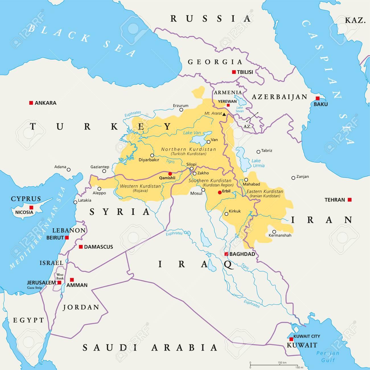 kurdistan karte Kurdistan Region Politische Landkarte. Kurdische Bewohnte Gebiete