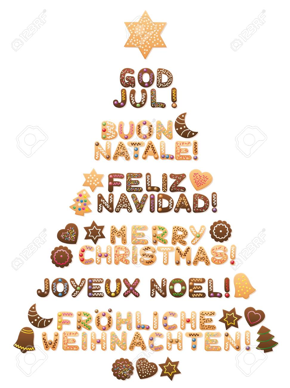 MERRY CHRISTMAS - written in swedish, italian, spanish, english, french and german language with cookies forming a sweet christmas tree. - 87848635