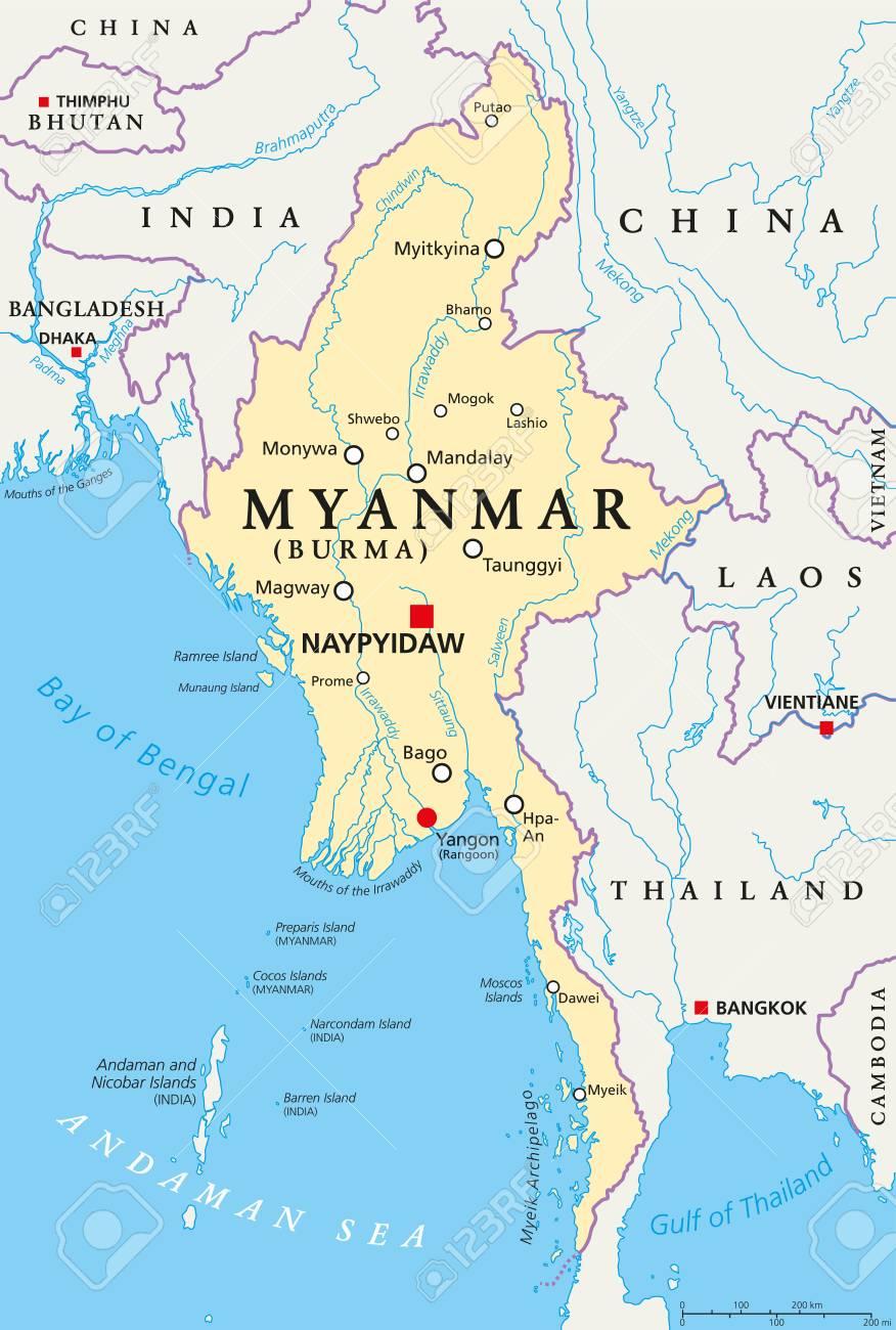 Burma Political Map.Myanmar Political Map With Capital Naypyidaw National Borders