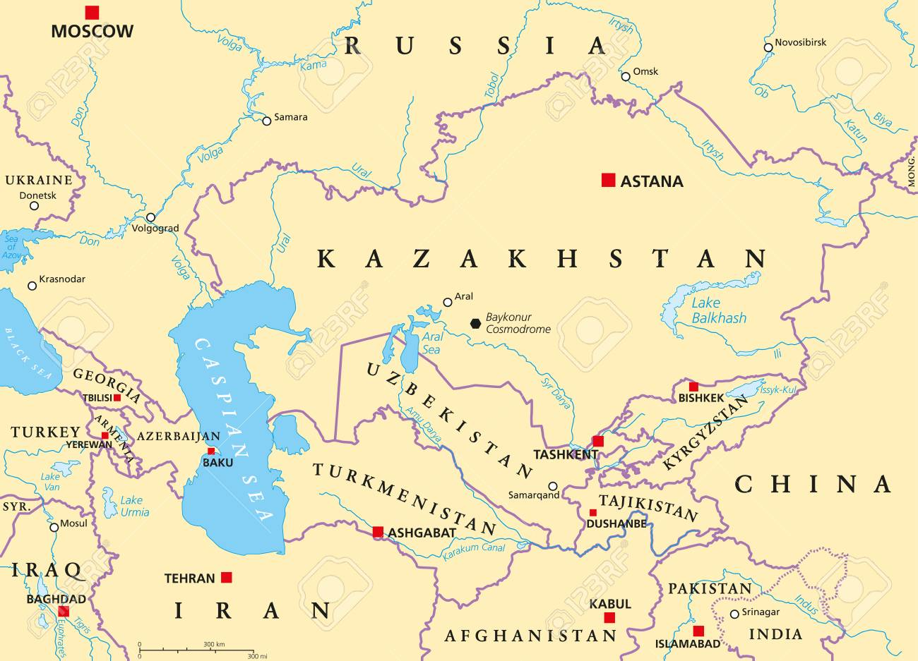Map Of Asia Rivers And Seas.Caucasus And Central Asia Political Map With Countries Their