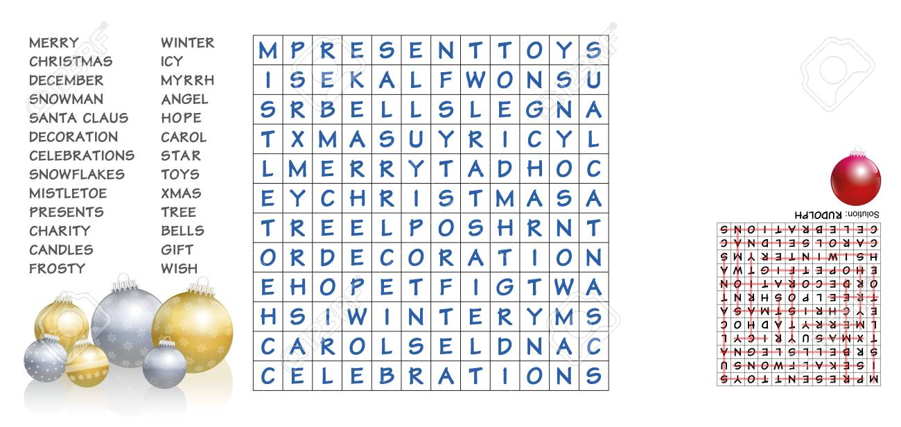 Christmas Crossword Puzzle.Christmas Crossword Find The Listed Words In The Puzzle And