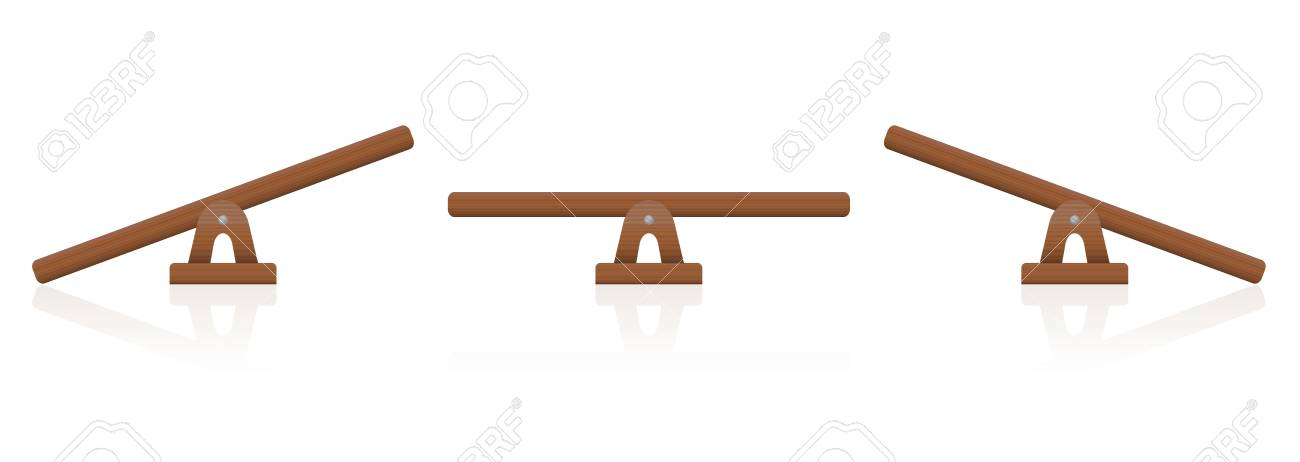 Seesaw or wooden balance scale set of three items - balanced and unbalanced, equal and unequal weightiness. - 89112901