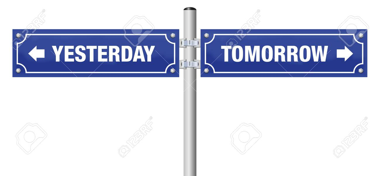 Yesterday And Tomorrow Written On Two Blue Signposts Symbol