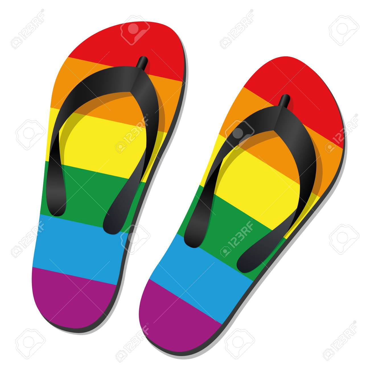 68f669069cce Gay pride flip flops - isolated vector illustration on white. Stock Vector  - 94678381