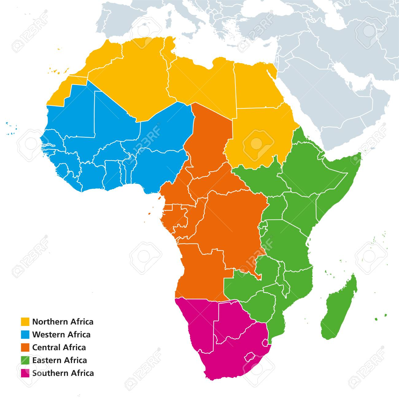 Africa Regions Political Map. United Nations Geoscheme With Single