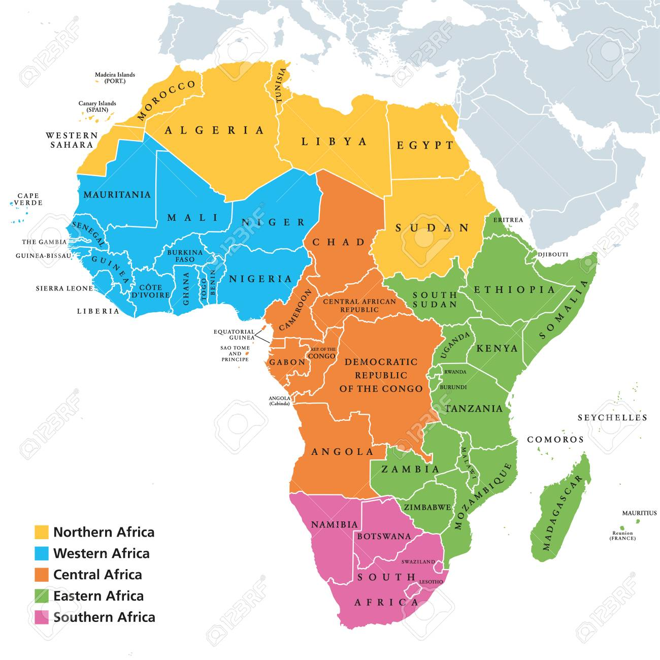 Africa Regions Political Map With Single Countries, United Nations