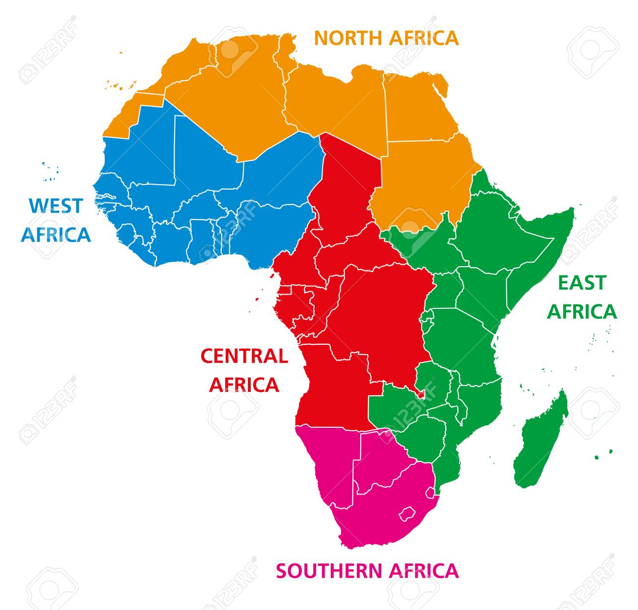 Regions Of Africa, Political Map, United Nations Geo Scheme With