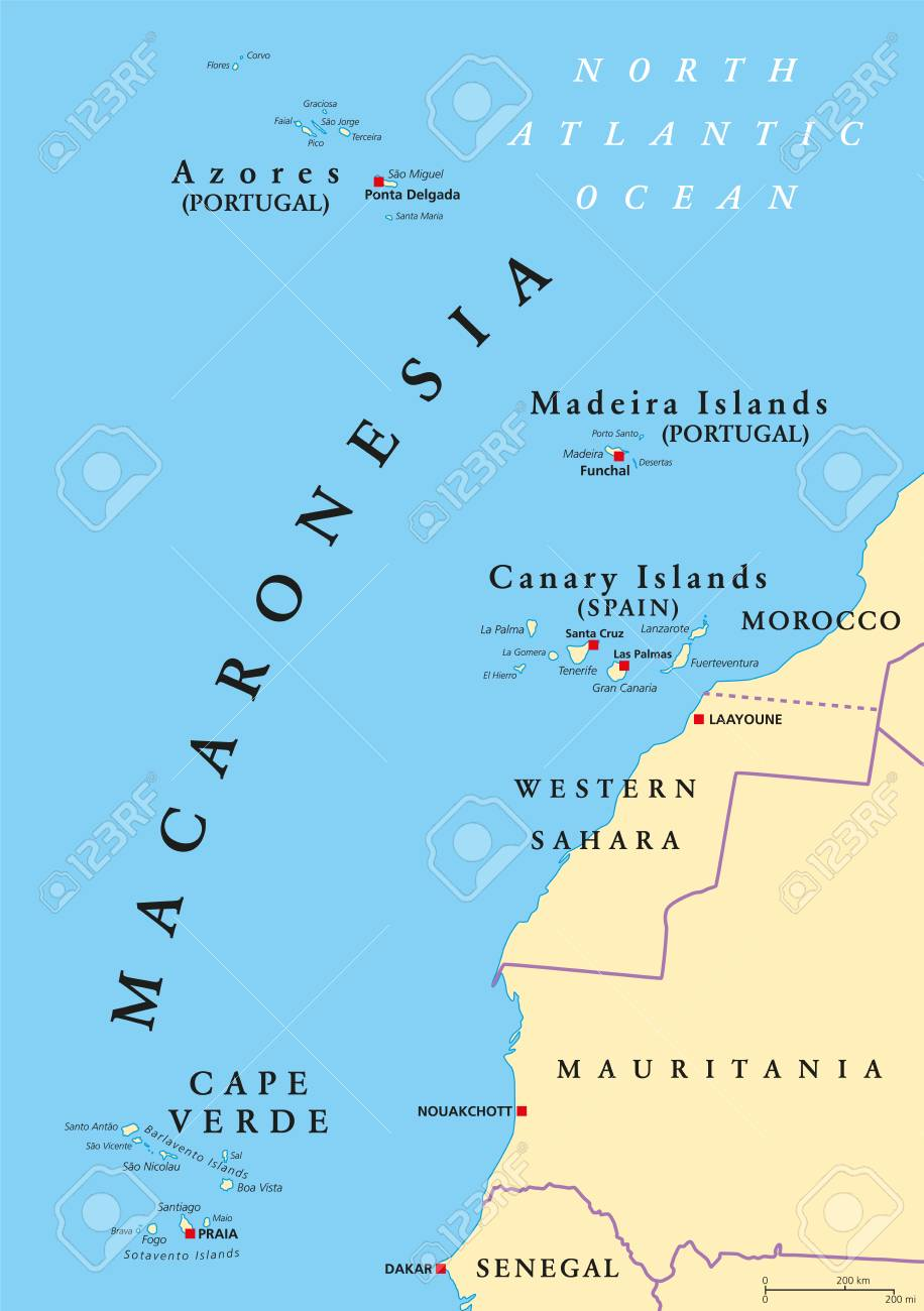 Cape Verde Location On Africa Map.Macaronesia Political Map Azores Cape Verde Madeira And Canary