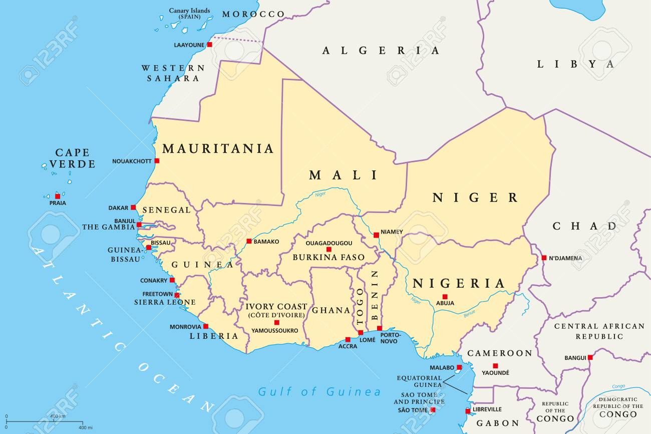 Westafrika Region Politische Karte Bereich Mit Hauptstadten Und Grenzen Die Westlichsten Lander Des Afrikanischen Kontinents Auch Westafrika Genannt Englische Kennzeichnung Illustration Vektor Lizenzfrei Nutzbare Vektorgrafiken Clip Arts