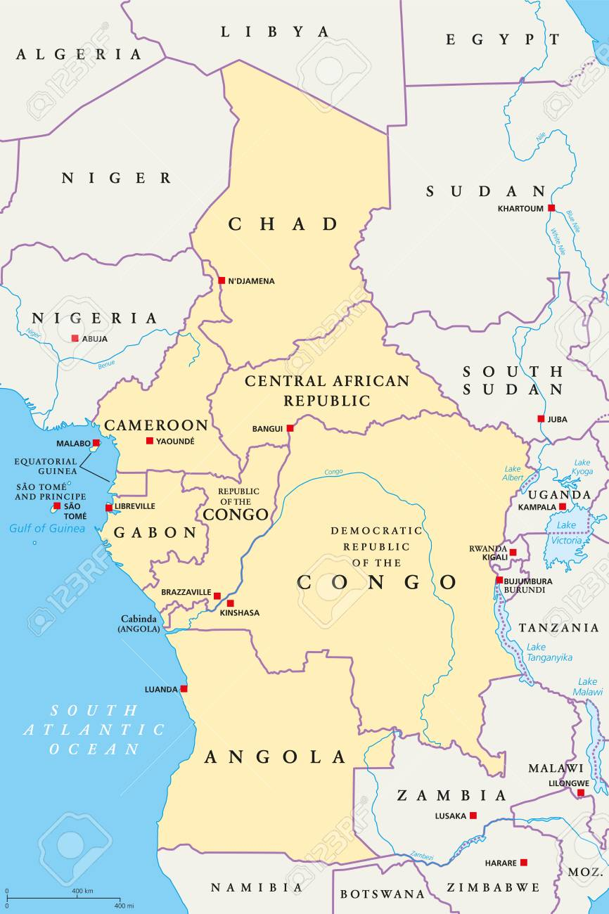 Central Africa Region, Political Map. Area With Capitals, Borders