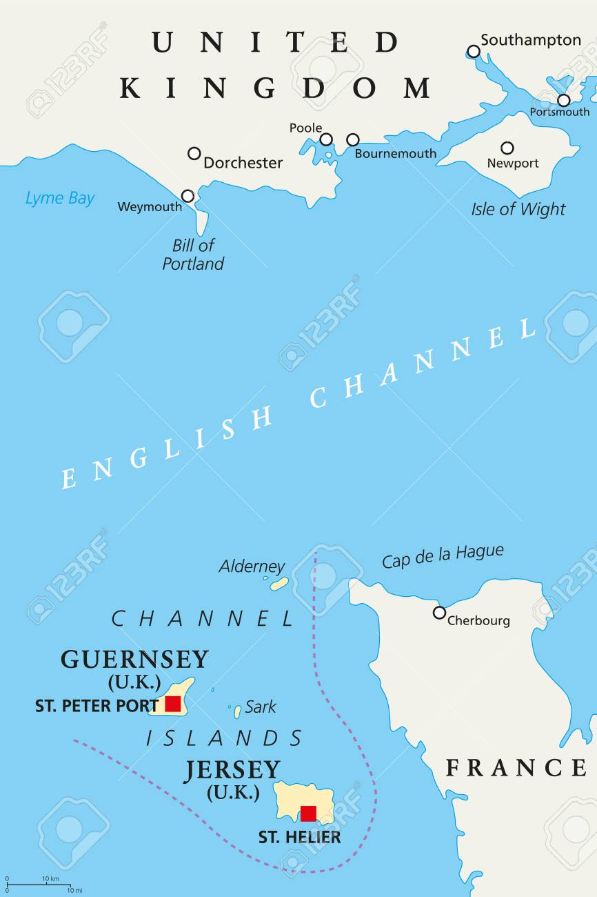 Channel Islands Political Map. Crown Dependencies Bailiwick Of ... on